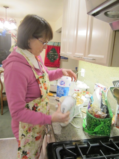 My mom baking up a storm at Christmas